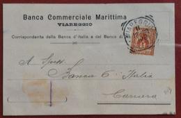 VIAREGGIO BANCA COMMERCIALE MARITTIMA CARTOLINA PUBBLICITARIA PER CARRARA