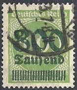 Germania  - 1923 Cifra S/s 800t Su 1000m Verde Giallo  F. 2 # Michel 308 - Scott 268 - Unificato 280 - Usato