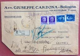 IMPERIALE 35 C. DUE PEZZI + COPPIA 50 C. SU RACCOMANDATA DA BOLOGNA A CESENA CON RISPEDIZIONE  29/1/40