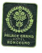 Petite étiquette Autocollante  (années 1930 Ou 40)  Du PALACE GRAND HOTEL  BAGNI DI RONCEGNO - Etiquettes D'hotels
