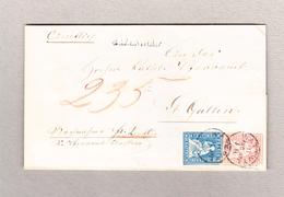 Schweiz 10Rp Zu#23cPf1 Und 15Rp Zu#24D Strubel Bazenheid Balkenstempel Wattwyl 11.8.1957 Brief Nach St Gallen - 1854-1862 Helvetia (Ungezähnt)