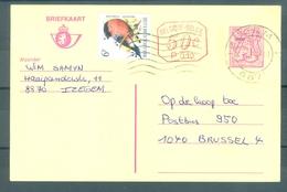 """BELGIE - Briefkaart 7,50F Heraldieke Leeuw Met Bijfrankering """"BUZIN"""" - Cachet """"IZEGEM"""" - (ref. CP 1476) - Postcards [1951-..]"""