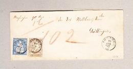 Schweiz Mischfrankatur Strubel 2Rp Und Sitzende 10Rp Entw.Amrisweil 29.1.1863 Fingerhutstempel Streifband Nach Güttingen - 1854-1862 Helvetia (Non-dentelés)