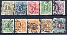 DENMARK 1914-15 Avisporto (newspaper Accounting Stamps) Set Of 10 Used.  Michel 1-8Y, 11-13