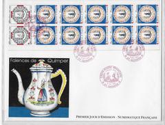 Enveloppe Premier Jour D'émission Numismatique  Faience De Quimper - 1990-1999