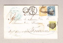 Schweiz 1856 (3 Farben Frankatur) Faltbrief Mit Zu#26Aa, 23B, 25B Aus Genève 10.6.1956 Nach Tournus Frankreich - Lettres & Documents
