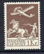 DENMARK 1929 Airmail 1 Kr. LHM / * .  Michel 181 - 1913-47 (Christian X)
