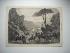 GRAVURE 1865. EXPEDITION DU Mexique. JUAREZ, A LA TETE DE QUELQUES CAVALIERS, FUIT VERS LE PASO-DEL-NORTE. - Prints & Engravings