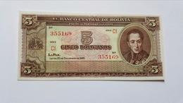 BOLIVIA 5 BOLIVIANOS 1945 - Bolivia
