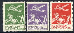 DENMARK 1925 Airmail Set Of 3 MNH / ** .  Michel 143-45 - Unused Stamps