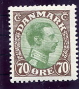 DENMARK 1920 King Christian X Definitive 70 Øre MNH / ** .  Michel 107 - Unused Stamps