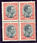 DENMARK 1918 King Christian X Definitive 27 Øre Block Of 4 MNH / ** .  Michel 101 - Unused Stamps