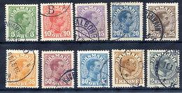 DENMARK 1913 King Christian X Definitive Set Of 10 Used.  Michel 67-76 - 1913-47 (Christian X)