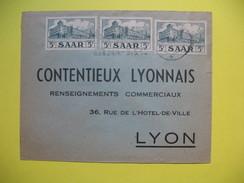 Lettre    De La Sarre Pour La France  1958 - 1957-59 Bundesland