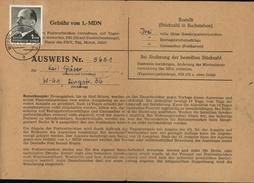 Allemagne République Démocratique  Ausweis N° 5651 Visa Tous Les Mois YT 564 F CAD WILKAU HASSLAU SACHS