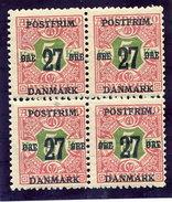 DENMARK 1918 Surcharge 27 Øre On 5 Kr Block Of 4 MNH / **.  Michel 95X - Nuovi