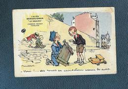"""Belle C.publicitaire Signée F Poulbot, Légende """" Oui !...des Roues En Caoutchou Comme Les Autres"""" / Pub Bergougnan - Poulbot, F."""