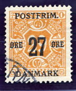 DENMARK 1918 Surcharge 27 Øre On 29 Ø.  Used.  Michel 90Y - Used Stamps