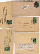 GB 1902: 5 Wrappers EVII Blue-green, 4 Of Them Oblit By Dif. Postmarks For Printed Matter, See Scan