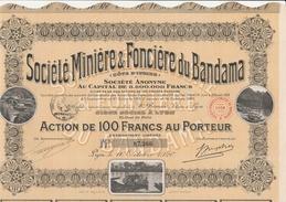 ACTION DE 100 FRS - SOCIETE MINIERE ET FONCIERE DU BANDAMA - COTE D'IVOIRE -ANNEE 1920 - Mines