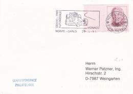 Monaco Card P/m Monte-Carlo 1991 Grand Prix Automobile - Formula Car In Postmark (T9A8)