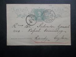 Portugl: 1899 Postal Card To Kandy, Ceylon (#HM9) - Entiers Postaux