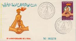 Enveloppe  FDC  1er  Jour  MAROC   10éme  Anniversaire  De   L' O.U.A   1973 - Marocco (1956-...)