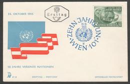 """Österreich 1955: ET/FDC Merkurbrief E73 """"10 Jahre Vereinte Nationen"""""""