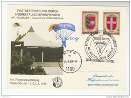 1988 Neustadt Wien PARACHUTING EVENT COVER (card) Austria Stamps