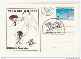 1989 Damuls  WORLD CUP  ´PARA SKI ´ Special  FDC  (card) Austria Skiing Parachuting Paragliding Paraski Sport Stamps