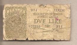 """Italia - Biglietto Di Stato Circolato Da 2 Lire """"Italia Laureata"""" - Luogotenenza - 1944 - Italia – 2 Lire"""