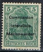 Sello 5 Pf Comision Interaliée MARIENWERDER 1920, Yvert Num 1 **