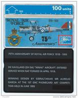 Royal Air Force 75th Anniversary Avion RAF 100u Mint Neuve 308A - Gibraltar