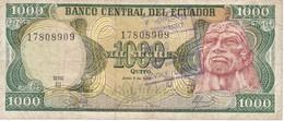 BILLETE DE ECUADOR DE 1000 SUCRES DEL AÑO 1988 CON RESELLO (BANKNOTE) - Ecuador