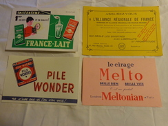 4 Buvards -melto Cirage-lait-pile Wonder-assurance - Buvards, Protège-cahiers Illustrés