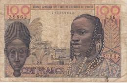 BILLETE DE BANQUE CENTRALE ETATS DE L'AFRIQUE DE L'OUEST DE 100 FRANCS DEL AÑO 1959 - Banconote