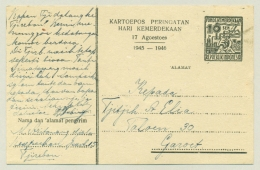 Nederlands Indië  / Indonesia - 1947 - 10 (+100) Sen Postcard Fonds Kemerdekaan Van Tjirebon Naar Garoet