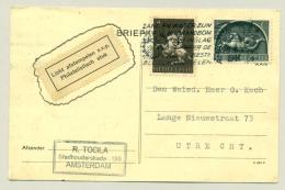 Nederland - 1944 - 1 Cent En 4 Cent Germaanse Symbolen Op Briefkaart Van Amsterdam Naar Utrecht - Brieven En Documenten