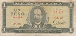 BILLETE DE CUBA DE 1 PESO DEL AÑO 1981   (BANK NOTE)  JOSE MARTI - Cuba