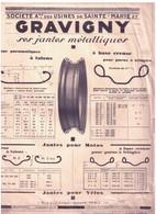 """Méc 1) (Publicité Ancienne Concernant La Mécanique)  Jante Métalliques """"Gravigny""""  1 Page  Rec/ - Advertising"""