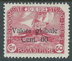 1920 FIUME VALORE GLOBALE 60 CENT MH * - P56-6 - 8. Occupazione 1a Guerra
