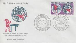 Enveloppe  FDC   1er  Jour    MADAGASCAR   Tournoi  De  TENNIS   De  Table   à  PEKIN   1974