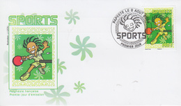 Enveloppe  FDC  1er  Jour   POLYNESIE    Sports  :   TENNIS  DE  TABLE    2008