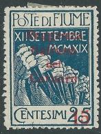 1920 FIUME REGGENZA DEL CARNARO 15 SU 25 CENT MH * - P56-4 - 8. Occupazione 1a Guerra