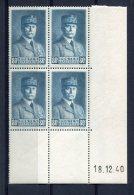1760 -  FRANCE  N° 471**  80c Vert - Bleu   Maréchal Pétain  Du 18.12.40    SUPERBE - Dated Corners