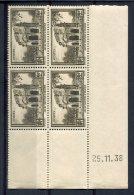 1766  -  FRANCE  N°389**  2Fr Brun - Gris    Du  25.11.38   SUPERBE - Dated Corners