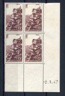 1771  -  FRANCE  N°763**  15Fr  Brun - Lilas   Rocamadour  Du 2.1.47   SUPERBE - Dated Corners