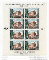 BELGIUM 1962 Yper's 1000th Anniversary  Complete Sheet Of 8 Scott B730 Belgium Catalogue Block 33 - Belgium