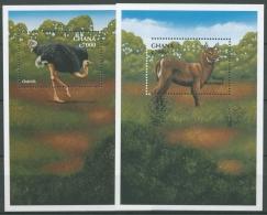 Ghana 2000 Tiere Afrikas Strauß Wasserbock Block 388/89 Postfrisch (C23959)