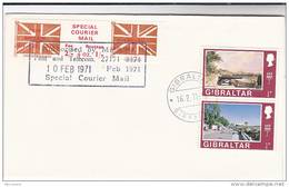 1971 COVER GIBRALTAR Stamps GB POSTAL STRIKE COURIER MAiL LABEL Great Britain